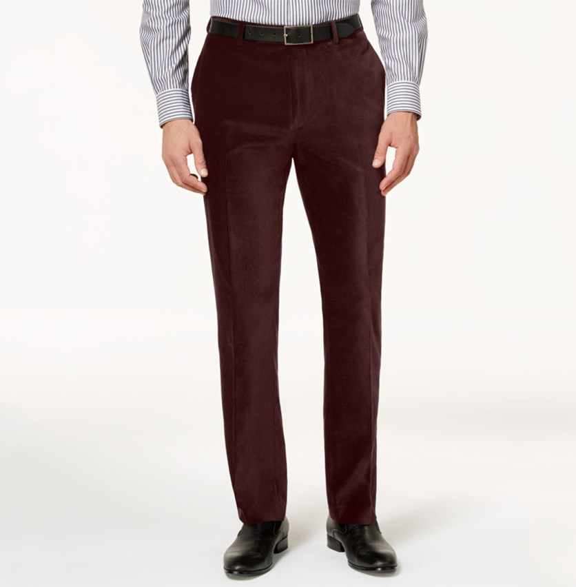 Mens Slim-Fit Velvet Dress Pants, Brick