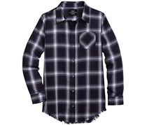 Jaywalker Boy's Raw Edge Plaid Shirt, Navy