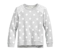 Monteau Girls' Star-Print Lace-Shoulder Sweat Top, Gray