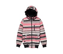 Chillin Ladies Fur Printed Stripe Outer Jacket, Pink Combo