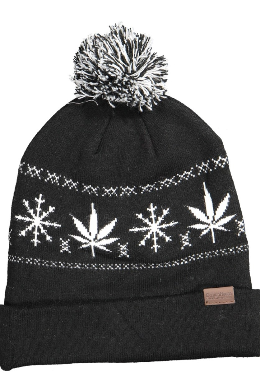 Pom-Pom Printed Knitted Hat, Black.White
