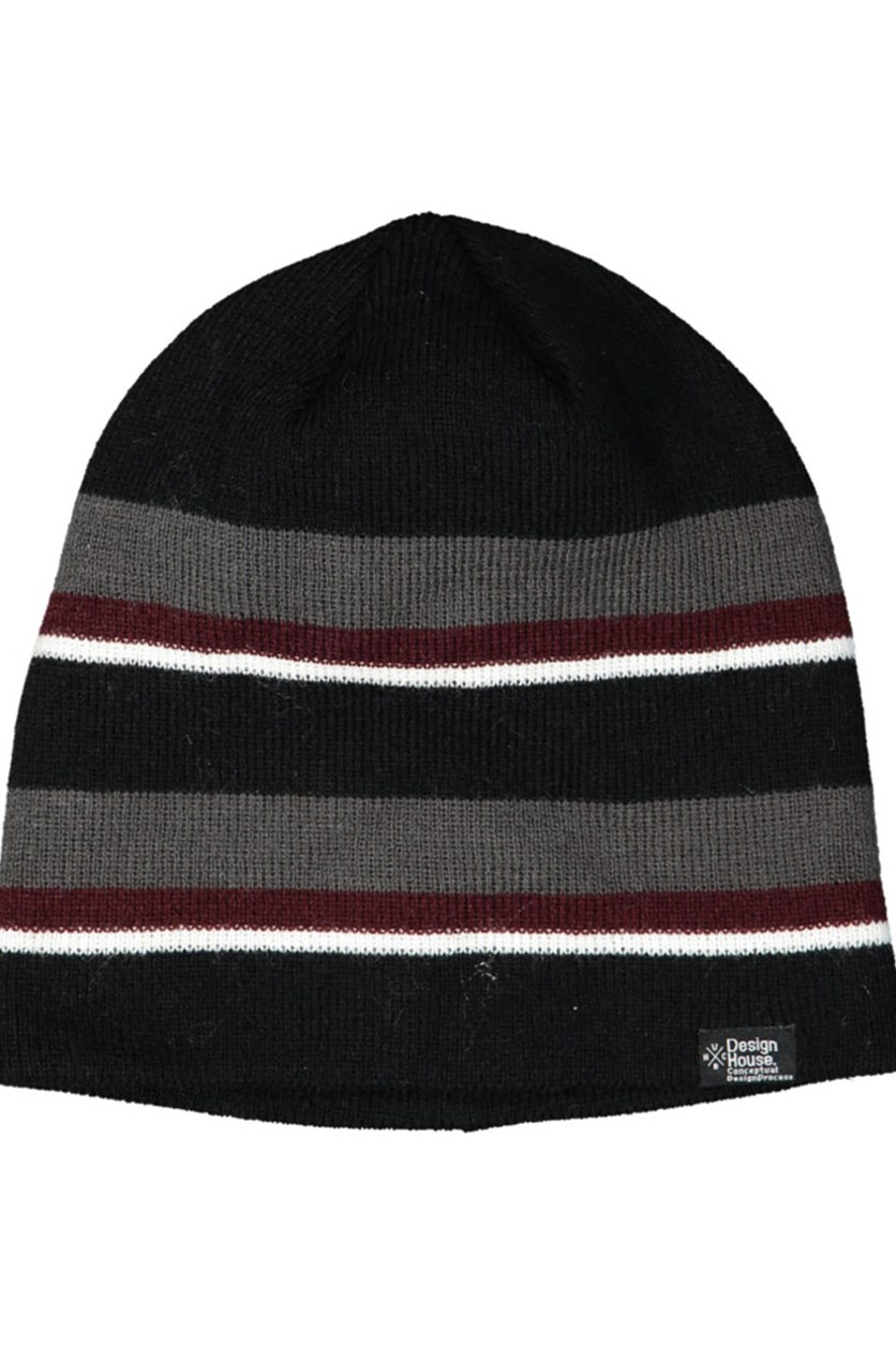 Men' Stripe Beanie, Black Combo