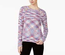 kensie Women's Space-Dyed Button-Detail Sweater, Pink