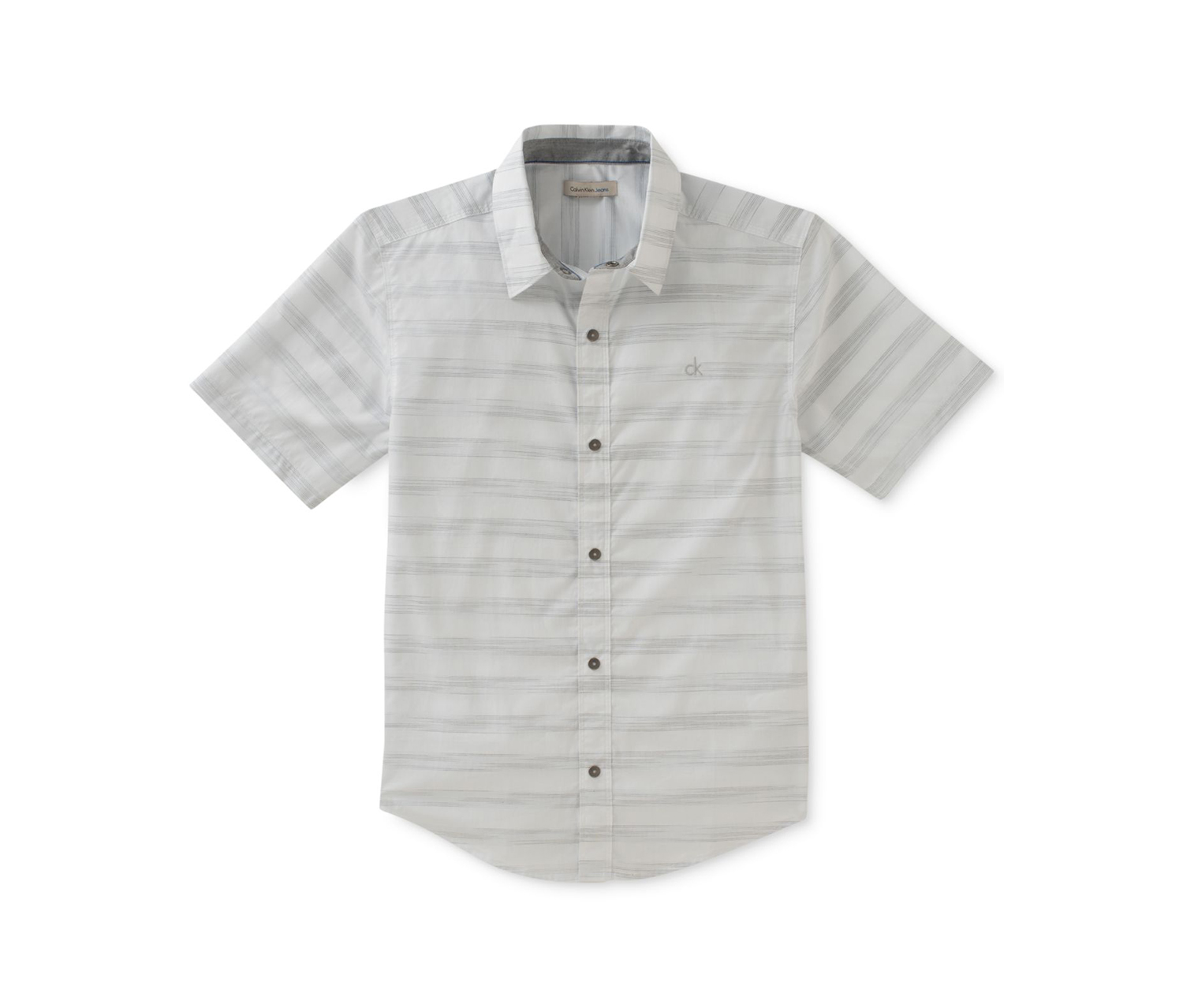 Space-Dyed Striped Cotton Shirt, Grey