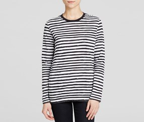 Marc Jacobs Women's Sketch Stripe Long Sleeve Top, Black/White