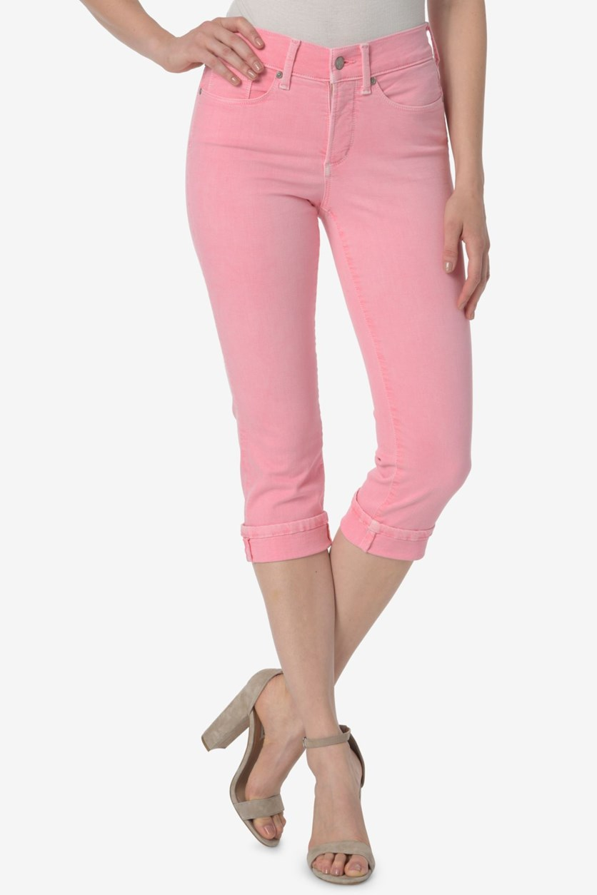 Marilyn Cropped Tummy-Control Pants, Pink