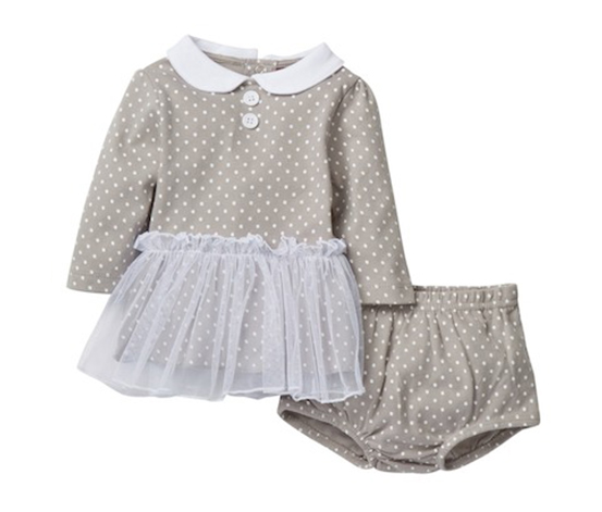 Isaac Mizrahi Polka Dot Dress & Diaper Cover Set, Grey/White