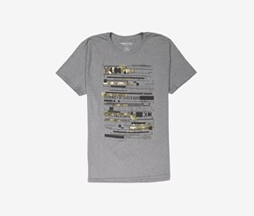 Kenneth Cole Mens Stencil Graphic Logo Tee, Charcoal Heather