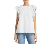 Michael Kors Embroidered-Sleeve Top, Off White