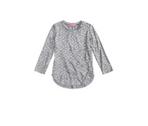 Tinsey Heart-Print Marled Hacci Top, Heather Grey