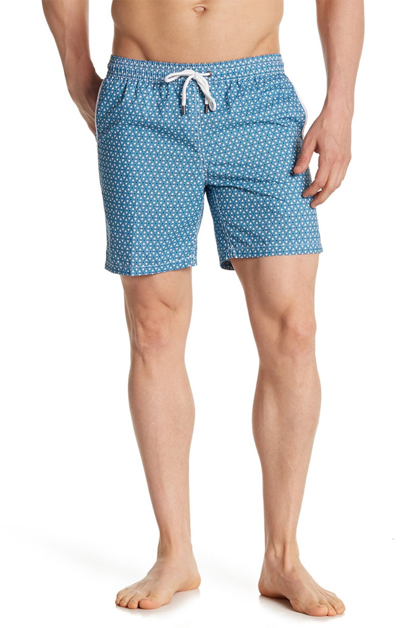 Mr. Swim Triangles Print Swim Trunks, Aqua