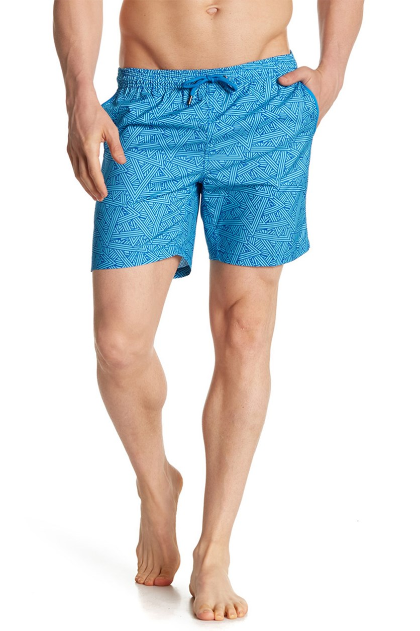 Men's Angled Swimwear Trunks, Blue