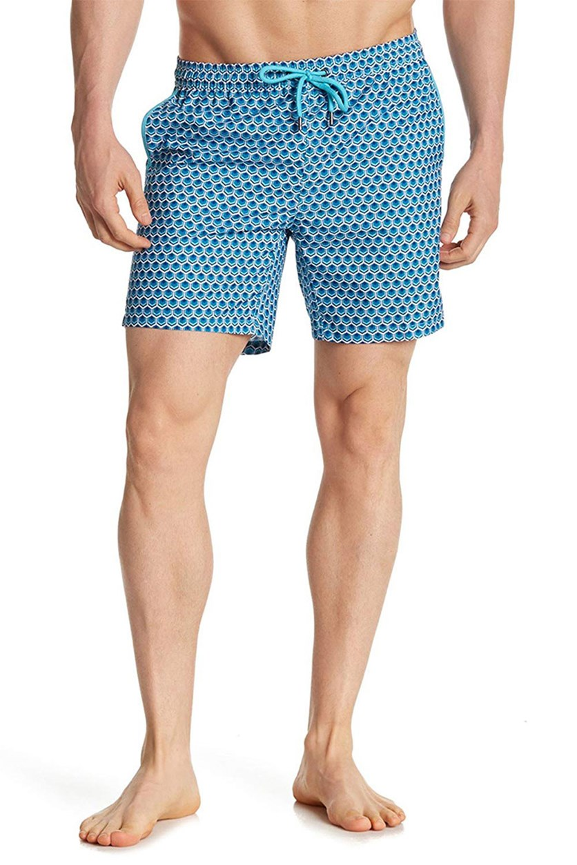 Men's Tile Swimwear Trunks, Aqua