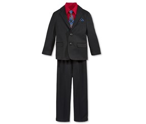 Nautica Little Boys' Black Herringbone Suit Set, Black/Red