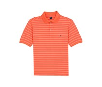 Nautica Kids Boy's Short Sleeve Striped Polo Shirt, Orange