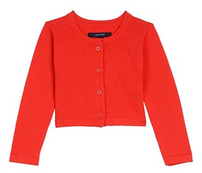 Nautica Baby Girl's Cropped Cardigan, Red