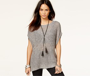 Free People Tatiana Short-Sleeve Pullover, Grey