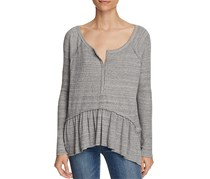 Free People Women's Coastline Flounced Top, Grey