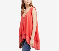 Free People Peachy Cotton Layered-Look Top, Coral