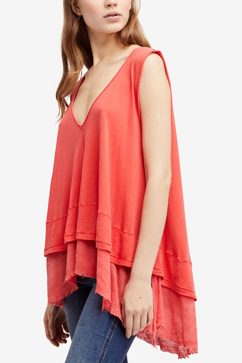 Peachy Cotton Layered-Look Top, Coral