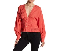 Free People Women's V-Neckline Button Blouse, Coral