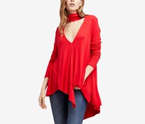 Free People Women's Uptown Turtle Choker-Neck Top, Red
