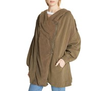 Free People Women Cotton Oversized Hoodie, Olive