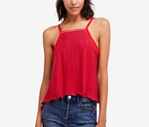 Free People Ana Crochet-Inset Tank Top, Red Combo