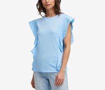 DKNY Cotton Butterfly-Sleeve Top, Morning Blue