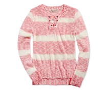 Pink Republic Girl's Striped Lace-Up Sweater, Pink