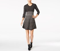 Ny Collection Women's Petite Striped Fit & Flare Sweater Dress, Black/White