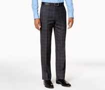 Slim-Fit Plaid Pants, Grey/Blue