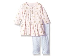 Rene Rofe Baby Little Girls 2 Piece Dress Set, Pink, Gray
