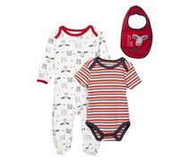 Rene Rofe Wild Footie Bodysuit & Bib 3-Piece Set, Red/White