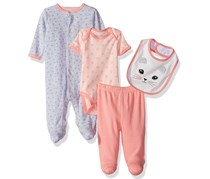 Rene Rofe Boy's 4 Pc Coverall Bodysuit Pant & Bib Set, Gray/Pink