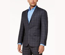 Ryan Seacrest Distinction Mens Plaid Blazer Jacket, Gray/Blue