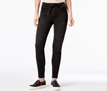 Rewind Juniors' Lace Up Skinny Jeans, Blak