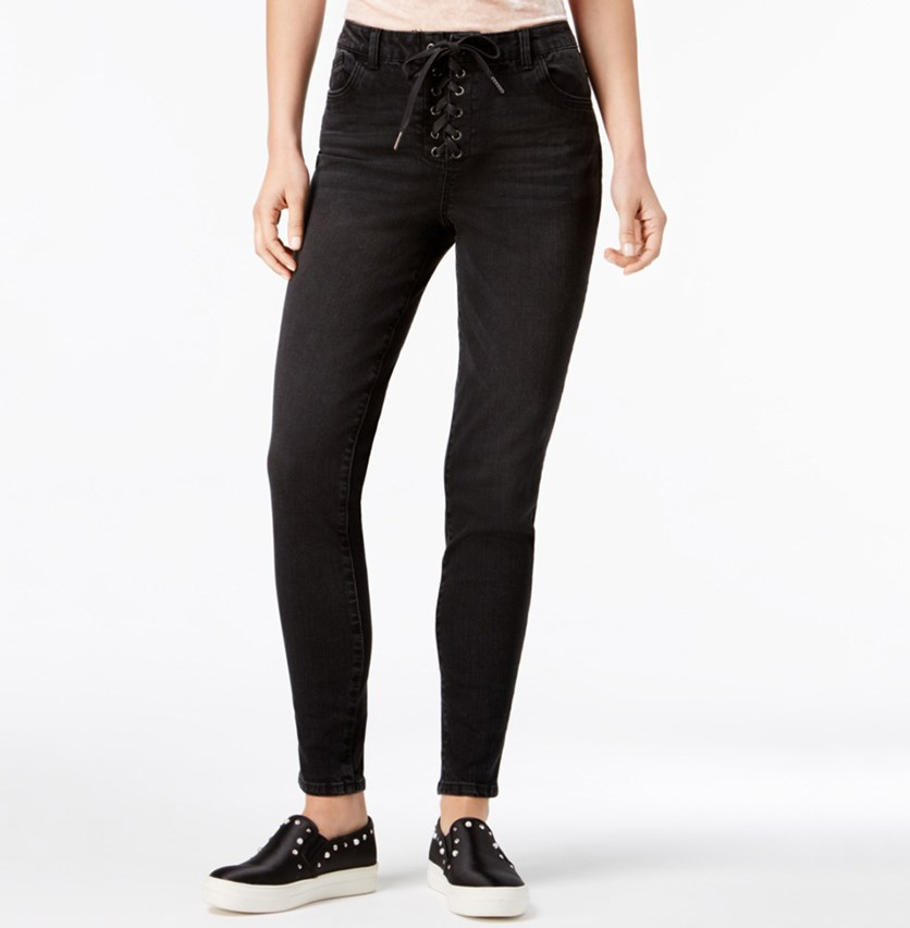 Juniors' Lace Up Skinny Jeans, Blak