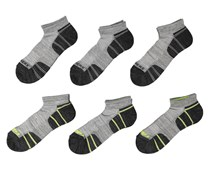 Skechers Men's 6-Pairs Quarter Crew Socks, Black/Grey/Lime
