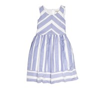 Speechless Big Girls Woven Stripe Dress, White/Blue