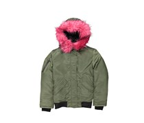 S13 NY Girls Igloo Down Bomber Jacket, Army/Pink