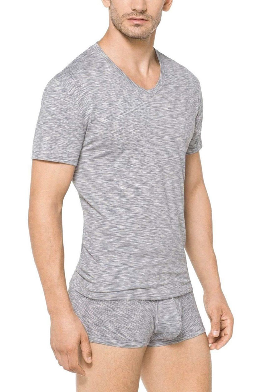 Men's Dynamic Stretch V-Neck Undershirt, Light Grey/White