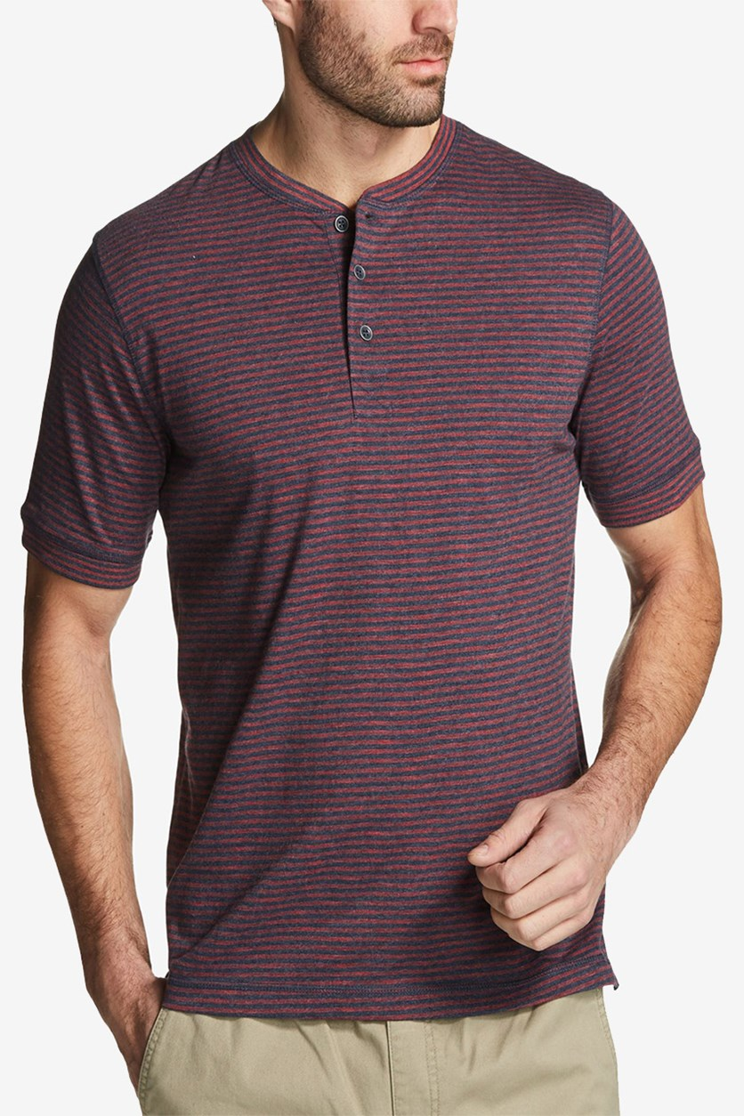 Vintage Men's Striped Henley Shirt, Rio Red