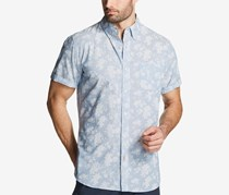 Weatherproof Vintage Leaf-Print Cotton Chambray Shirt, Med Blue
