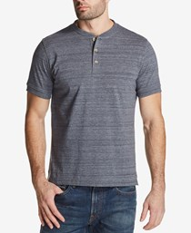 Weatherproof Vintage Textured Jersey-Knit Henley Shirt, Med Gray