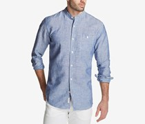Weatherproof Vintage Men's Band-Collar Shirt, Blue