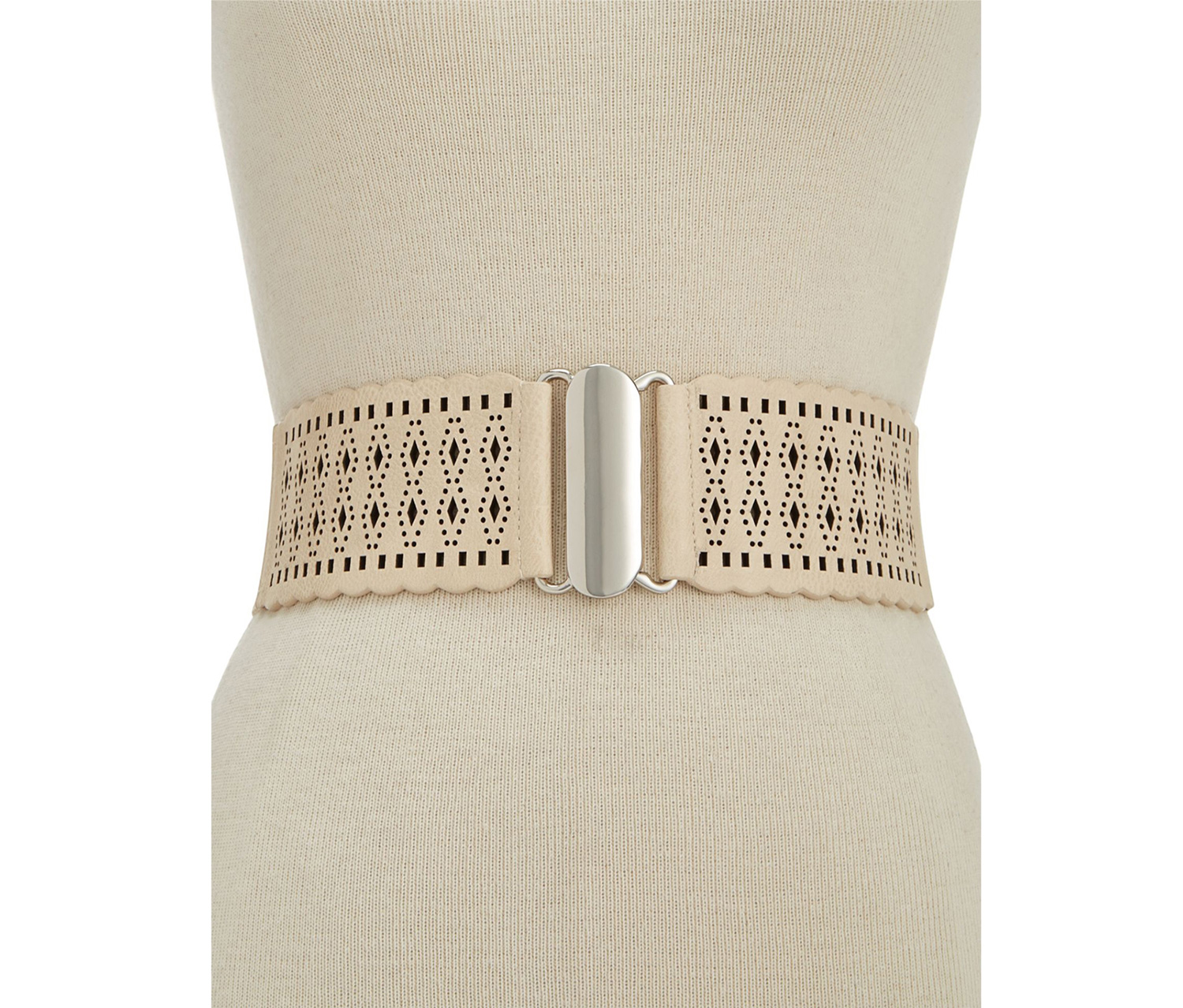 Style & Co. Women's Wide Perforated Stretch Belt, Beige