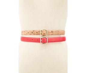 Style & co. Women's 2 Belts, Coral/Natural
