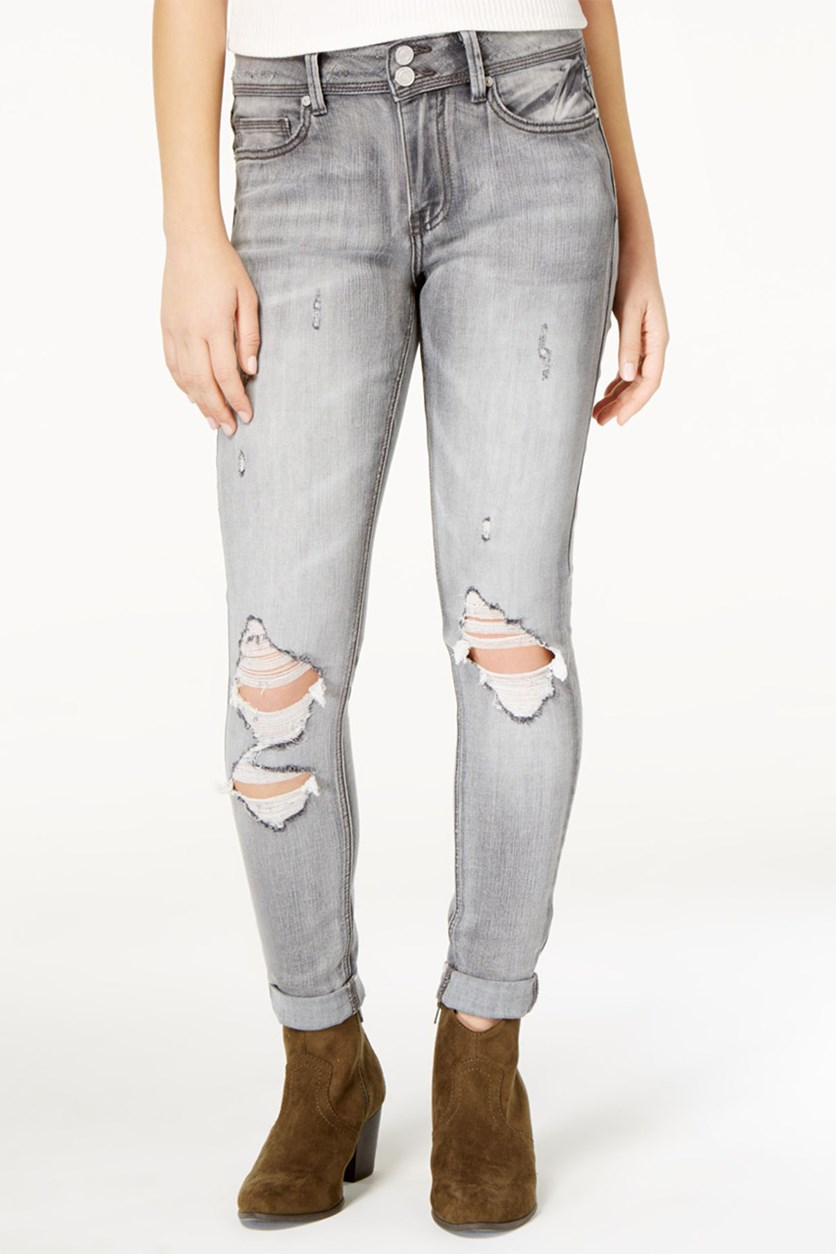 Juniors Ripped Skinny Jeans, Grey