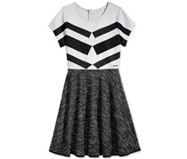 Sean John Girl's Geometric Fit Flare Dress, Grey/Black